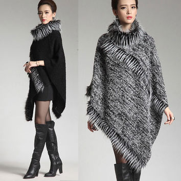 New Autumn European Winter women ponchos and capes Coat Fashion Knitted Wool Shawl with fake fur Female imitation cashmere wrap