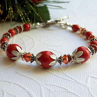Red Coral Pearl Crystal Bracelet Red Silver Beaded Bracelet Holiday Jewelry Christmas Gift for Her