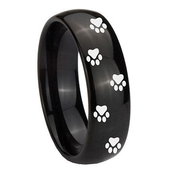 8MM Classic Dome Paw Print Design Shiny Black Tungsten Laser Engraved Ring