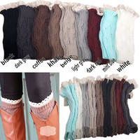 Lace leg warmers Wool is hollow out shoe set
