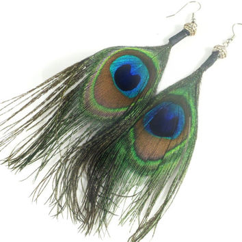 Peacock Feather Earrings, Long Earrings, Peacock Earrings, Boho Chic Fashion Earrings, Hippie Gypsy Feather Jewelry, Trending Womens Jewelry