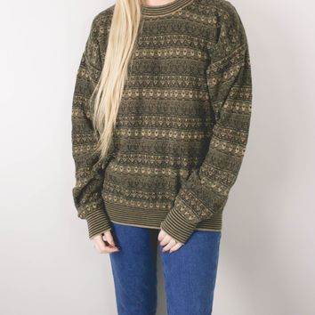 Vintage Aztec Green Knit Sweater