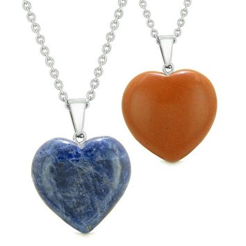 Amulets Lucky Puffy Hearts Love Couples or Best Friends Set Sodalite Red Jasper Pendant Necklaces