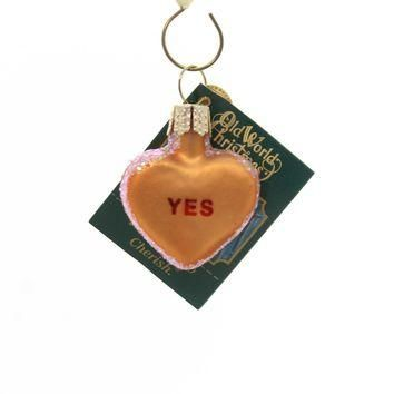 Old World Christmas Conversation Heart Glass Ornament