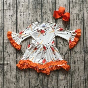 new Halloween Fall/winter cotton milk silk baby girls boutique children clothes cotton dress unicorn pumpkin ruffles match bow