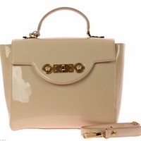 New VERSACE Patent Leather Tote Bag in Powder Pink