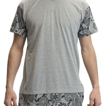 Paisley Print Extended Length T-Shirt TL936 - S14D