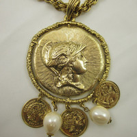 Designer Signed CRAFT Roman Soldier Medallion Faux Coin Pearl Dangle Necklace Vintage Jewelry Sixties Seventies Style