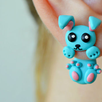 Cute Bunny earrings,blue Kawaii earring,rabbit stud earrings,double side earring,double studed earrings,clinging earring,two part earrings
