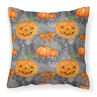 Watecolor Halloween Pumpkins Fabric Decorative Pillow BB7521PW1414