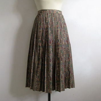 Vintage 1980s Jaegar Pleat Skirt Neutral Native Aztec Pleated Plus Size Skirt 16