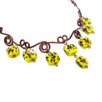 Yellow Brown Wire Necklace Bright Fun Glass Beads Jewelry