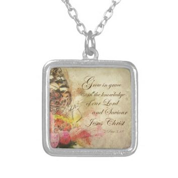 Vintage Butterfly Grow in Grace Bible Verse Silver Plated Necklace