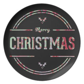 Merry Christmas Greeting Dinner Plate