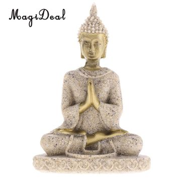 The Hue Sandstone Meditation Buddha Statue Sculpture Hand Carved Figurine Statue Home Decoration