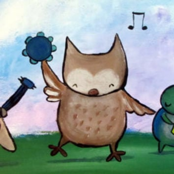 Musical Animals Original Painting, Wall Art for Kids Children Babies, Storybook Style Artwork, Woodland Nursery Decor