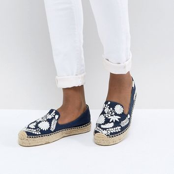 Soludos Midnight Blue Ibiza Embroidered Espadrilles at asos.com