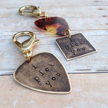 """Guitar Pick """"I Pick You"""" Couples Keychains"""