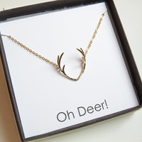 Antler Necklace | Gold Antler Necklace | Delicate Antler Necklace | Deer Necklace | Horn Necklace | Rustic Necklace