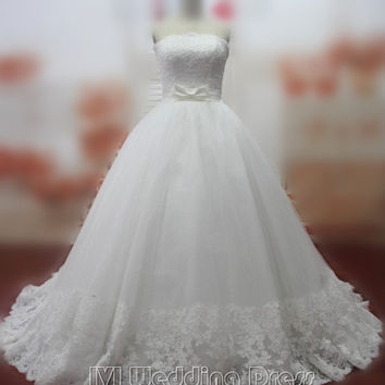 Real Pictures Custom Made Wedding Dresses with Lace Strapless Wedding Gowns with Bow Sash Bridal Gowns Bridal Dress