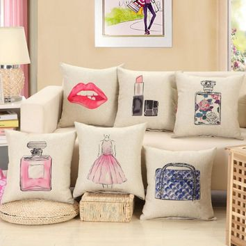 2017 Creative Lipstick Cosmetic Cartoon Printing Pillow Cover Home Linen Cotton Throw Pillow Pillowcase Hot