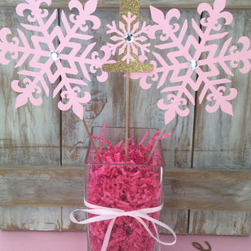 Winter Onederland Pink Gold Centerpiece | Girl First Birthday | Frozen Birthday