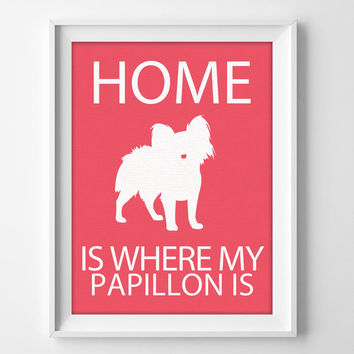 "8x10"" Papillon Wall Art, Illustrated Dog Art, Papillon Decor, Dog Breed Wall Art, Papillon Dog, Puppy Wall Art Print, Papillon Gift"