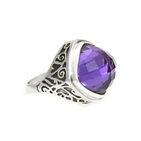 Ring Sterling Silver with Cushion Cut Gemstone