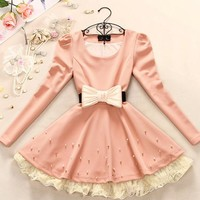 Bowknot pearl lace nice dress