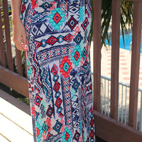 Island Tribe Tribal Print Multi Colored Maxi Skirt