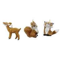 St. Nicholas Square Faux-Fur Animal 3-pc. Christmas Ornament Set