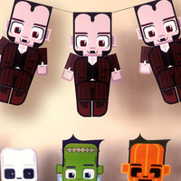 Halloween Dracula paper craft activity. Instant download. Printable Dracula mask paper toy. Make you own cards, banners and Dracula bunting!