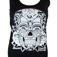 Cartel Ink Day of the Dead Flower Sugar Skull Screen Print Racerback Tank Top