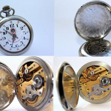 Vintage  Rosskopf Pantent Grand Prix Paris Steel Chrome Swiss Pocket Watch 1904