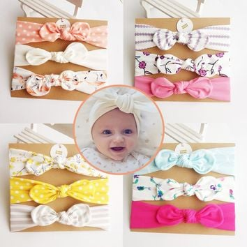 Girl  Kids Headband Unicorn Mermaid Hair Accessories Knot Bows Bunny Band Birthday Gift Flowers Geometric Print 3pcs/card Boutiq