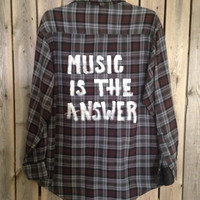 Super soft Plaid flannel Music is The Answer hand painted shirt // Large