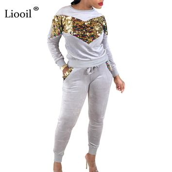 Liooil Two Piece Casual Sequin Jumpsuits For Women Winter Long Sleeve O Neck Black Red Party Rompers Womens Jumpsuit