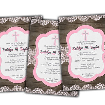 Country Wood and Pink Lace Baptism Invitation - Pink Girls Baptism Invites - Vintage Wood - Antique Lace - Baby Pink - Rose Pink - Girl