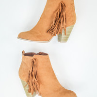 Fringe Booties in Rust