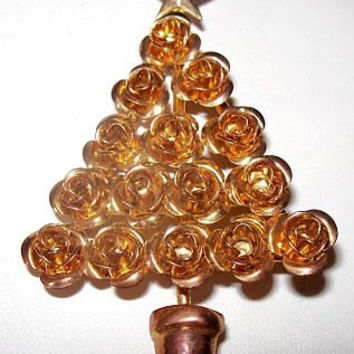 """Gold Roses Christmas Tree Brooch Pin Holiday Tree Rose Gold Metal Star Topper 3"""" Vintage"""