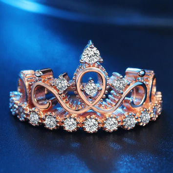 Women Rose Gold Crown Ring