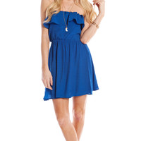 RUFFLED BLOUSON TUBE TOP DRESS - BLUE