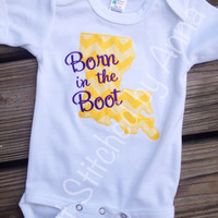 Louisiana baby Onesuit, Born in the Boot Onesuit, LSU baby
