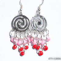 Antique double spiral earrings - Silver finish  with red,pink white glass beads-Lightweight earrings -Handmade earrings