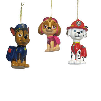 Kurt Adler 3-Inch - 3.5-Inch Paw Patrol Blow Mold Ornament Set of 3