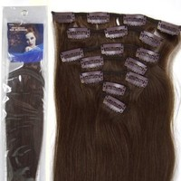20''7pcs Fashional Clips in Remy Human Hair Extensions 24 Colors for Women Beauty Hot Sale (#04-medium brown)