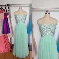 Long Mint Prom Dress, Chiffon Sweetheart Formal Dresses, Beaded Evening Wedding Party Dresses 2015
