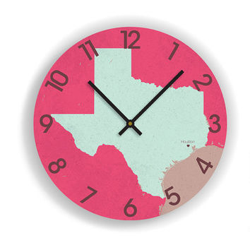 "STATE MAP ART Wall Clock - Personalized Texas Silhouette Map- Large Unique Contemporary Wall clock- 11"" and 16""  Diameter - No Ticking Sound"