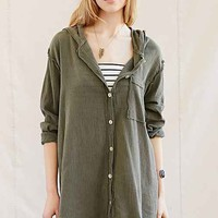 Urban Renewal Remade Gauze Button-Front Hooded Tunic-