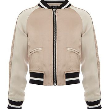 Girls Embroidered Satin Bomber Jacket